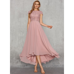 A-Line Scoop Neck Asymmetrical Chiffon Evening Dress With Lace