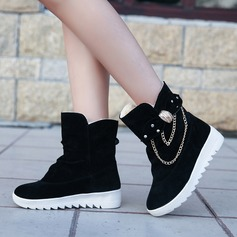 Women's Suede Wedge Heel Boots Mid-Calf Boots With Rhinestone Bowknot Chain shoes