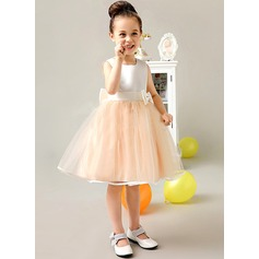 A-Line/Princess Tea-length Flower Girl Dress - Tribute silk/CVC Sleeveless Scoop Neck With Bow(s)
