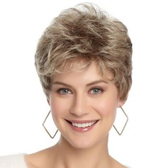 Short Colormix Layered Side Bang Curly Human Hair Wig