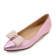 Women's Patent Leather Flat Heel Flats Closed Toe With Sequin shoes