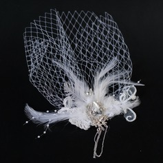 Elegant Feather/Tulle Fascinators With Rhinestone