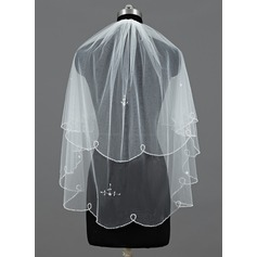 Two-tier Elbow Bridal Veils With Beaded Edge/Sequin Trim Edge