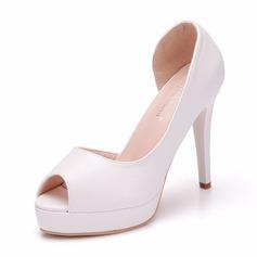 Women's Leatherette Spool Heel Peep Toe Pumps With Crystal Heel