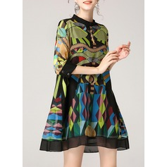 Silk With Print Above Knee Dress (199132115)