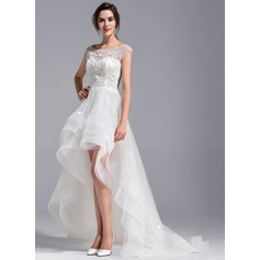 A-Line Scoop Neck Asymmetrical Tulle Lace Wedding Dress With Beading Flower(s)