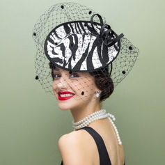 Ladies ' Vintage Stof med Tyl Fascinators