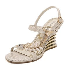 Women's PU Wedge Heel Sandals Wedges With Rhinestone shoes
