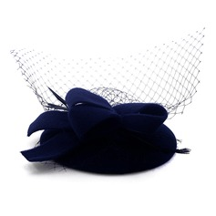 Ladies' Beautiful Wool With Tulle Beret Hat