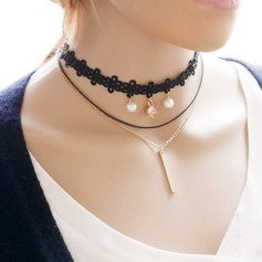 Fashional Alloy Lace With Imitation Pearl Ladies' Fashion Necklace