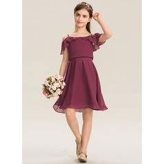 Square Neckline Knee-Length Chiffon Junior Bridesmaid Dress With Bow(s) Cascading Ruffles (268197734)