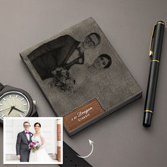 Personalized Mens Custom Engraved Photo Engraved Father's Day Gifts Leather Wallet