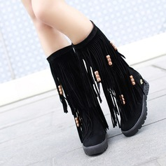 Suede Flat Heel Platform Mid-Calf Boots With Tassel shoes