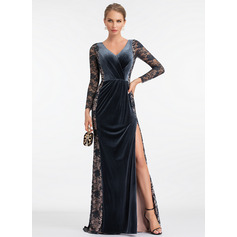 Sheath/Column V-neck Sweep Train Velvet Evening Dress With Split Front