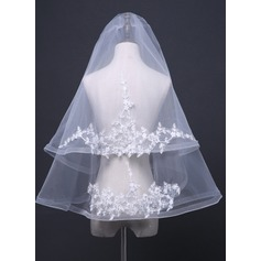 Two-tier Fingertip Bridal Veils With Applique