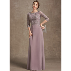 A-Line Scoop Neck Floor-Length Chiffon Lace Mother of the Bride Dress (267265336)