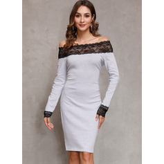 Off the Shoulder Long Sleeves Midi Dresses (294252943)