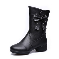 Women's Real Leather Sneakers Dance Boots With Flower Dance Shoes
