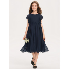 A-Line Scoop Neck Knee-Length Chiffon Junior Bridesmaid Dress With Beading