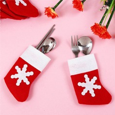4pcs/set Mini Red Santa Claus Socks Cutlery Favor Bag Gifts