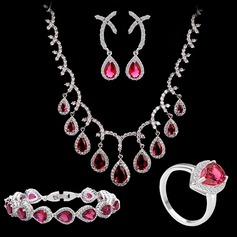 Pretty Copper/Zircon/Platinum Plated Ladies' Jewelry Sets