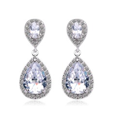 Exquisite Copper/Zircon/Platinum Plated Ladies' Earrings