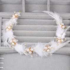 Ladies Amazing Alloy/Feather Headbands With Venetian Pearl (Sold in single piece)