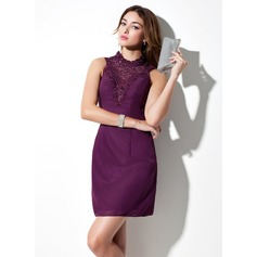 Sheath/Column Scoop Neck Short/Mini Chiffon Cocktail Dress With Lace Beading Bow(s)
