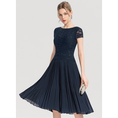 Scoop Neck Knee-Length Chiffon Cocktail Dress (270214126)