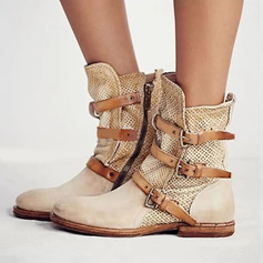 Women's PU Flat Heel Closed Toe Boots Mid-Calf Boots With Buckle shoes