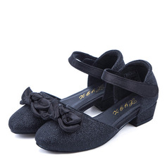 Girl's Closed Toe Microfiber Leather Low Heel Flats Flower Girl Shoes With Bowknot Velcro