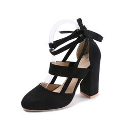 Women's Suede Chunky Heel Pumps Closed Toe With Lace-up Hollow-out shoes