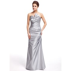 Sheath/Column Sweetheart Floor-Length Taffeta Prom Dresses With Ruffle Bow(s)