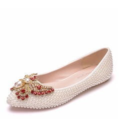 Women's Leatherette Flat Heel Closed Toe Flats With Beading Crystal