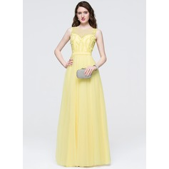 A-Line/Princess Scoop Neck Floor-Length Chiffon Prom Dress With Beading Flower(s) Sequins