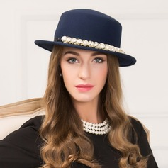 Ladies' Elegant Wool With Imitation Pearls Floppy Hat