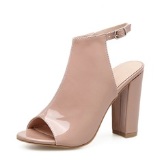Women's Patent Leather Chunky Heel Pumps Boots Peep Toe Slingbacks Ankle Boots With Buckle shoes