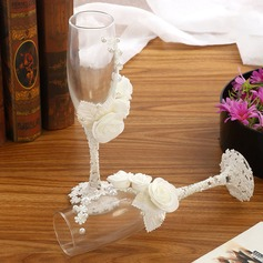 Simple Design/Classic Toasting Flutes With Ribbon Bow