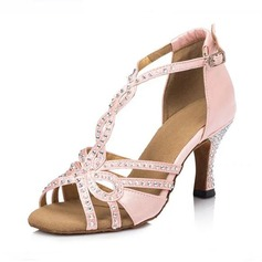 Women's Satin Sandals Latin With Rhinestone T-Strap Dance Shoes