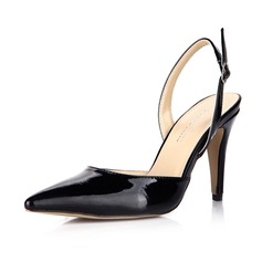 Women's Patent Leather Stiletto Heel Pumps Closed Toe Slingbacks With Buckle shoes