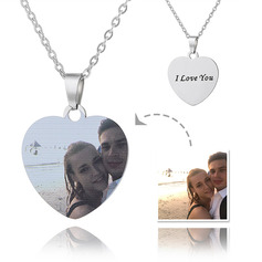 [Free Shipping]Custom Silver Heart Engraving/Engraved Color Printing Photo Necklace - Mother's Day Gifts