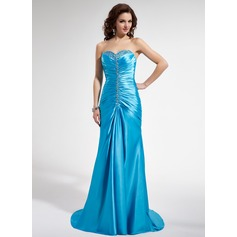 Trumpet/Mermaid Sweetheart Sweep Train Charmeuse Prom Dress With Ruffle Beading Sequins