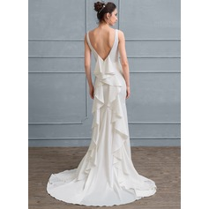 Sheath/Column Square Neckline Court Train Satin Wedding Dress With Cascading Ruffles