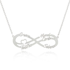 Custom Sterling Silver Infinity Family Five Name Necklace Infinity Name Necklace With Heart - Birthday Gifts Mother's Day Gifts