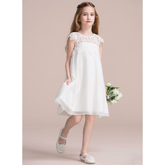 Empire Knee-length Flower Girl Dress - Chiffon Lace Sleeveless Scoop Neck (269213913)
