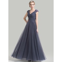 A-Line/Princess V-neck Floor-Length Tulle Mother of the Bride Dress With Ruffle Lace
