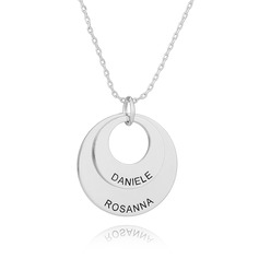 Custom Silver Engraving/Engraved Layered Circle Necklace - Birthday Gifts Mother's Day Gifts