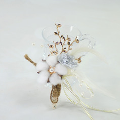 Girly Hand-tied Satin/Metal/Linen Rope Wrist Corsage - Wrist Corsage