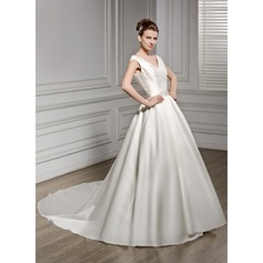 A-Line/Princess V-neck Court Train Satin Wedding Dress With Ruffle Beading Sequins