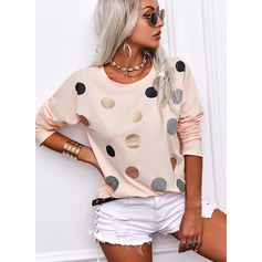 Regular Fitted PolkaDot Casual Long Sleeves (1003257401)